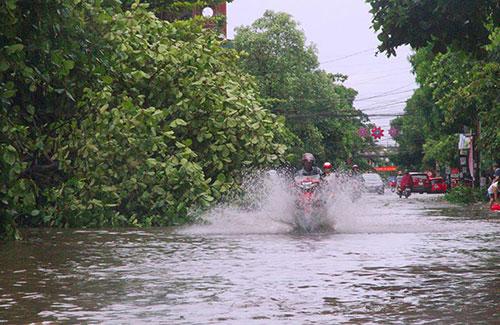 ưa lớn khiến một số tuyến đường ở TP Hà Tĩnh bị ngập.