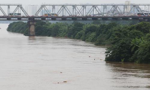 Người dân đổ về cầu Long Biên bơi lội khi nước sông Hồng lên cao